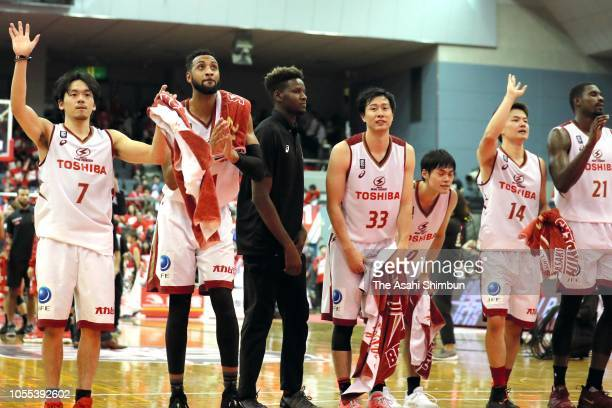Kawasaki Brave Thunders players applaud supporters after their victory in the B.League B1 match between Chiba Jets and Kawasaki Brave Thunders at...