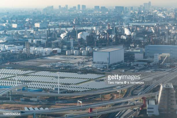 kawasaki city in kanagawa prefecture in japan daytime aerial view from airplane - 川崎市 ストックフォトと画像