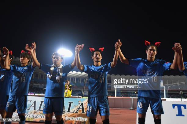 Kawasaki Frontale applaud supporters after their 03 victory in the JLeague J1 match between Kawasaki Frontale and Yokohama FMarinos at Todoroki...
