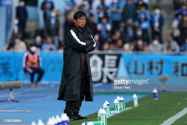 Kawasaki Frontale head coach Toru Oniki looks on during the JLeague MEIJI YASUDA J1 match between Kawasaki Frontale and Sagan Tosu at Todoroki...