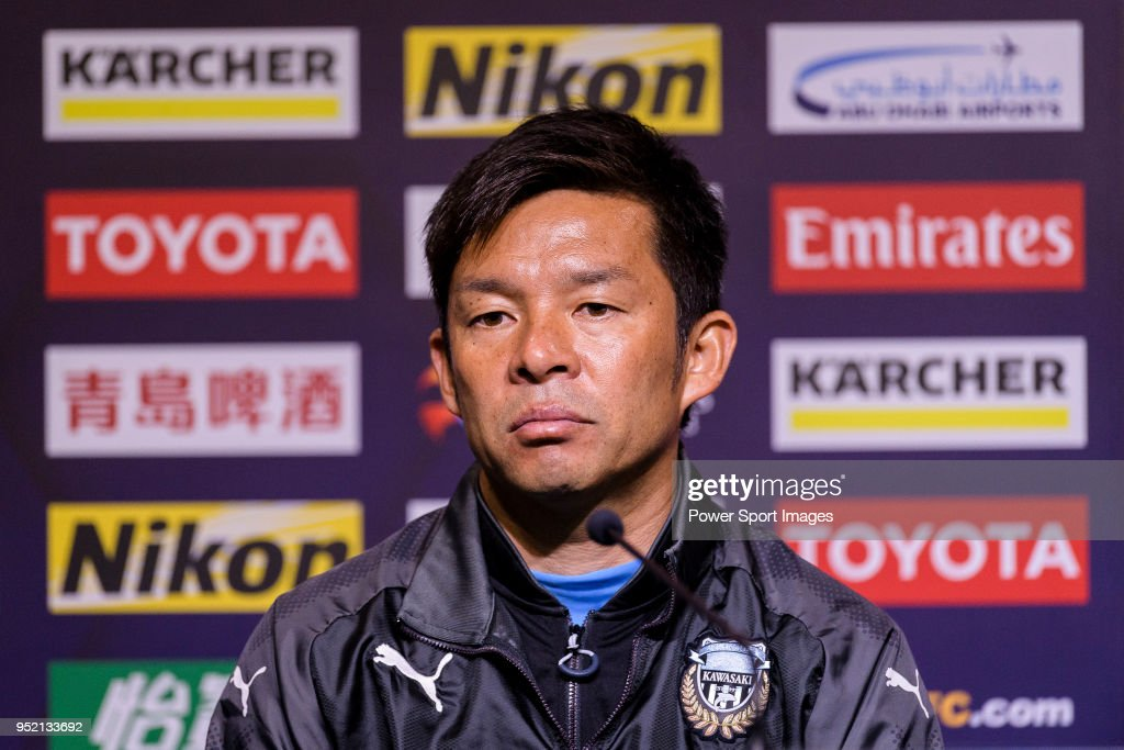 Kawasaki Frontale Head Coach Toru Oniki talks during the press conference for the AFC Champions League 2018 Group Stage F Match Day 5 between Shanghai SIPG and Kawasaki Frontale at Shanghai Stadium on 04 April 2018 in Shanghai, China.