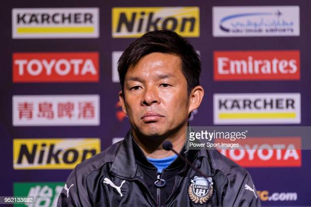 Kawasaki Frontale Head Coach Toru Oniki talks during the press conference for the AFC Champions League 2018 Group Stage F Match Day 5 between...