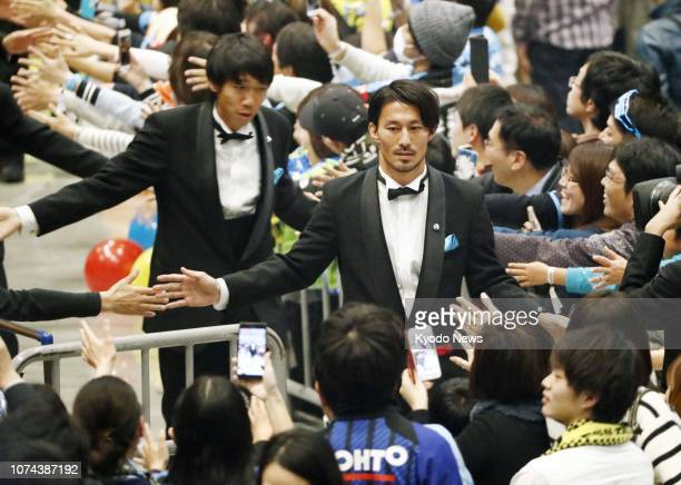 Kawasaki Frontale midfielder Akihiro Ienaga leaves the JLeague Awards ceremony in Yokohama on Dec 18 at which he was named the Player of the Year...