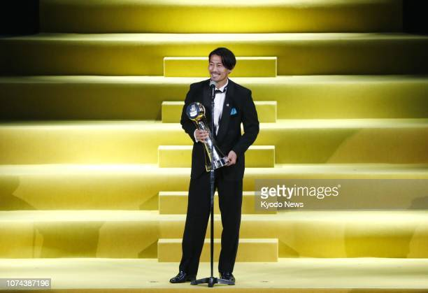 Kawasaki Frontale midfielder Akihiro Ienaga makes a speech after being named the JLeague's Player of the Year during a ceremony in Yokohama on Dec 18...