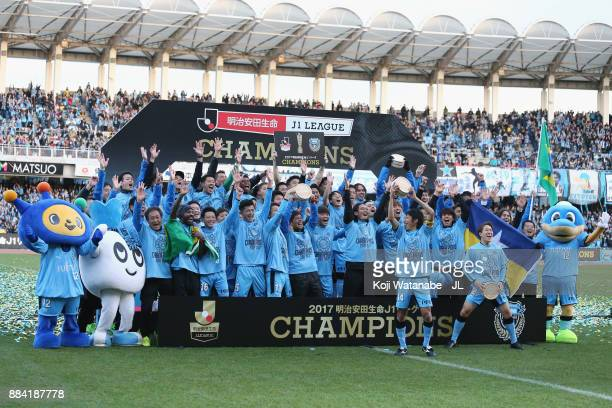 Kawasaki Frontale players celebate the JLeague Champions at the award ceremony after the JLeague J1 match between Kawasaki Frontale and Omiya Ardija...