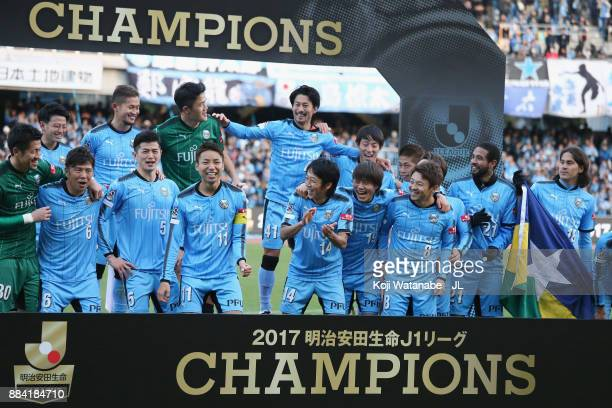 Kawasaki Frontale players celebrate the JLeague Champions at the award ceremony after the JLeague J1 match between Kawasaki Frontale and Omiya Ardija...