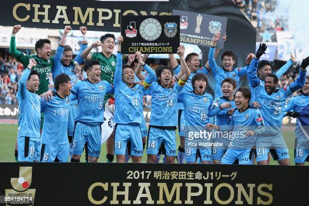 Kawasaki Frontale players celebrate the JLeague Champions at the award ceremony after the JLeague J1 match between Kawasaki Frontale and Omiya Ardija...