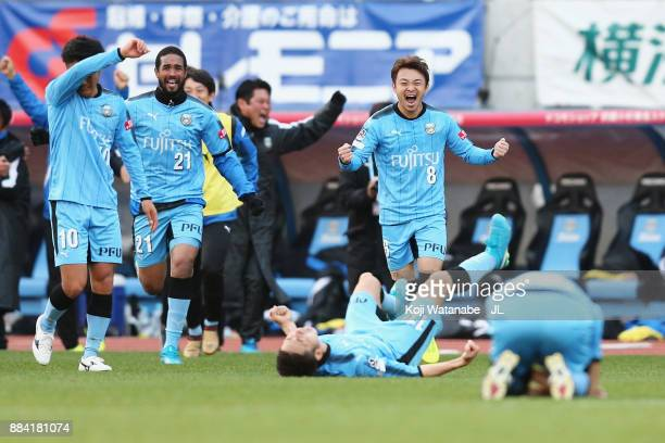 Kawasaki Frontale players celebrate their 50 victory and JLeague Champions after the final whistle of the JLeague J1 match between Kawasaki Frontale...