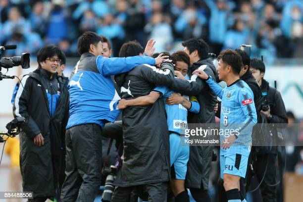 Kawasaki Frontale players congratulates Kengo Nakamura as they celebrates the JLeague Champions after their 50 victory in the JLeague J1 match...