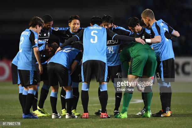 Kawasaki Frontale players huddle during the AFC Champions League Group F match between Kawasaki Frontale and Shanghai SIPG at Todoroki Stadium on...