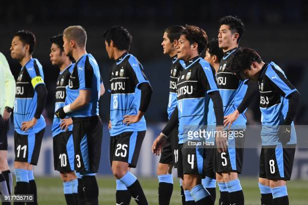 Kawasaki Frontale players show dejection after their 01 defeat in the AFC Champions League Group F match between Kawasaki Frontale and Shanghai SIPG...