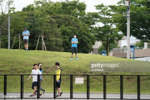 Kawasaki Frontale supporters are seen outside the stadium despite the match is held behind closed doors prior to the JLeague Meiji Yasuda J1 match...