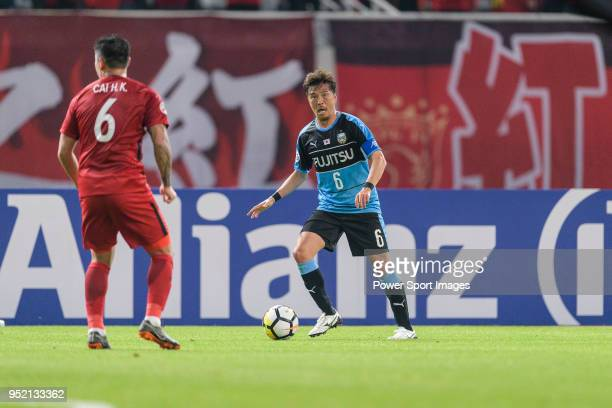 Kawasaki Midfielder Tasaka Yusuke in action during the AFC Champions League 2018 Group Stage F Match Day 5 between Shanghai SIPG and Kawasaki...
