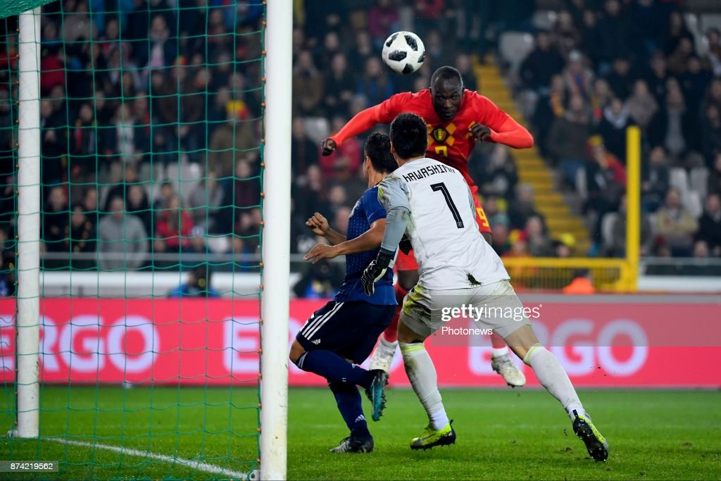 Kawashima Eiji goalkeeper of Japan, Romelu Lukaku forward of Belgium scores the opening goal during the World Cup Friendly Preparation match between Belgium and Japan on November 14, 2017 in Brugge, Belgium,