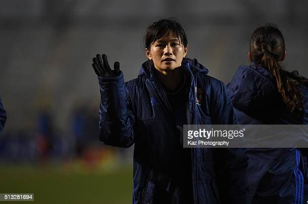 Kawasumi Nahomi of Japan good byes for Rio Olympic during the AFC Women's Olympic Final Qualification Round match between Japan and South Korea at...