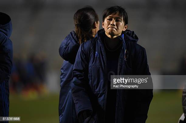 Kawasumi Nahomi of Japan regrets for the draw during the AFC Women's Olympic Final Qualification Round match between Japan and South Korea at Kincho...