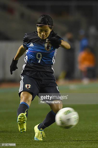 Kawasumi Nahomi of Japan shoots the ball during the AFC Women's Olympic Final Qualification Round match between Japan and South Korea at Kincho...