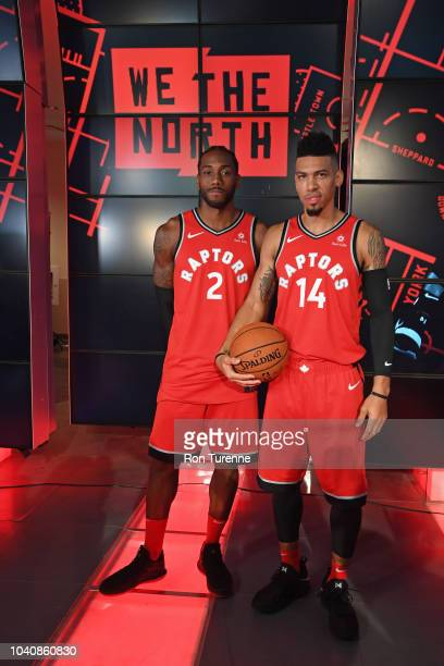 Kawhi Leonard and Danny Green of the Toronto Raptors pose for a portrait at a press conference after media day on September 24 2018 at the Air Canada...