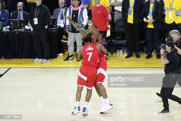 Kawhi Leonard and Kyle Lowry of the Toronto Raptors celebrate after winning the game against the Golden State Warriors to become the 2019 NBA...