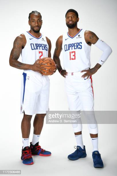 Kawhi Leonard and Paul George of the LA Clippers pose for a portrait during media day on September 29 2019 at the Honey Training Center Home of the...