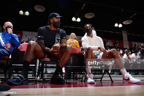 Kawhi Leonard and Terance Mann of the LA Clippers look on during the 2021 Las Vegas Summer League on August 9, 2021 at the Cox Pavilion in Las Vegas,...