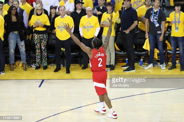 Kawhi Leonard celebrates after winning the game against the Golden State Warriors to become the 2019 NBA Champions in Game Six of the NBA Finals on...