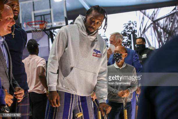 Kawhi Leonard during the Los Angeles Clippers Ground breaking Ceremony on September 17 at the Intuit Dome site in Inglewood, CA.