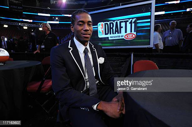 Kawhi Leonard from San Diego State sits prior to the 2011 NBA Draft Presented by KIA at the Prudential Center on June 23 2011 in Newark New Jersey...
