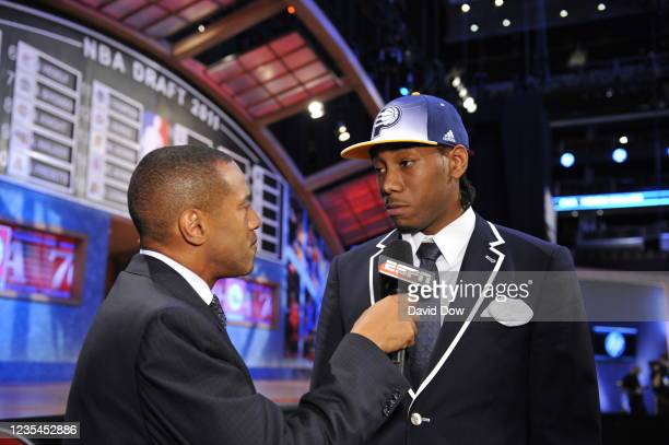 Kawhi Leonard is drafted by the Indiana Pacers during the 2011 NBA Draft at the Prudential Center on June 23, 2011 in Newark, New Jersey. NOTE TO...
