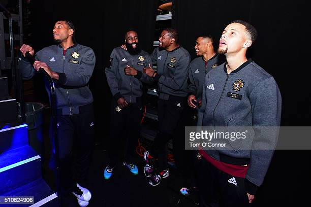 Kawhi Leonard James Harden Kevin Durant Russell Westbrook and Stephen Curry of the Western Conference get ready to be announced before the NBA...