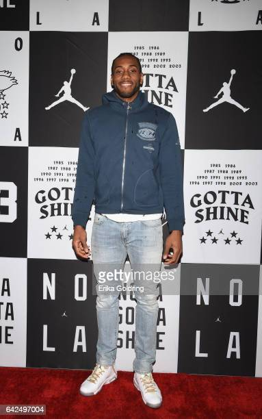 Kawhi Leonard of San Antonio Spurs attends Jordan Brand 2017 AllStar Party at Seven Three Distilling Co on February 17 2017 in New Orleans Louisiana