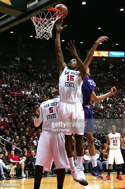 Kawhi Leonard of San Diego State tips the ball into the basket against TCU at Cox Arena in San Diego Saturday February 5 2011 SDSU beat TCU 6053