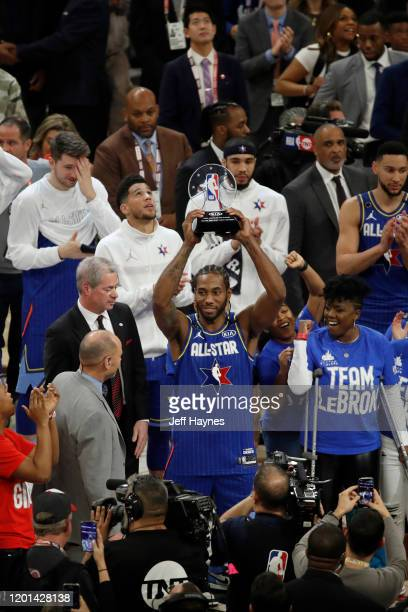 Kawhi Leonard of Team LeBron is awarded the Kobe Bryant All Star Game MVP Award on February 16, 2020 at United Center in Chicago, Illinois. NOTE TO...