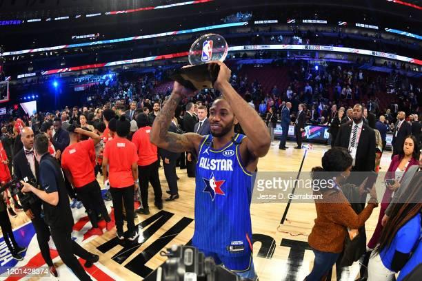 Kawhi Leonard of Team LeBron is awarded the Kobe Bryant All Star Game MVP Award during the 69th NBA All-Star Game on February 16, 2020 at the United...
