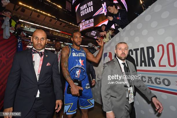 Kawhi Leonard of Team LeBron is awarded the Kobe Bryant MVP during the 69th NBA All-Star Game as part of 2020 NBA All-Star Weekend on February 16,...
