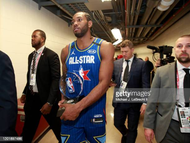 Kawhi Leonard of Team LeBron is awarded the Kobe Bryant MVP during the NBA All-Star Game as part of 2020 NBA All-Star Weekend on February 16, 2020 at...
