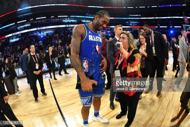 Kawhi Leonard of Team LeBron is interviewed on the court after being awarded Kobe Bryant All Star Game MVP Award during the 69th NBA All-Star Game on...