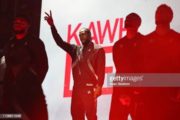 Kawhi Leonard of Team LeBron is introduced during the 2019 NBA AllStar Game on February 17 2019 at the Spectrum Center in Charlotte North Carolina...