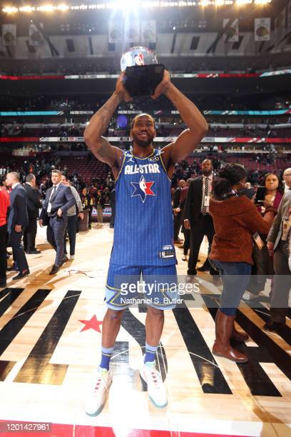 Kawhi Leonard of Team LeBron is rewarded the Kobe Bryant All-Star Game MVP Award the during the 69th NBA All-Star Game on February 16, 2020 at the...