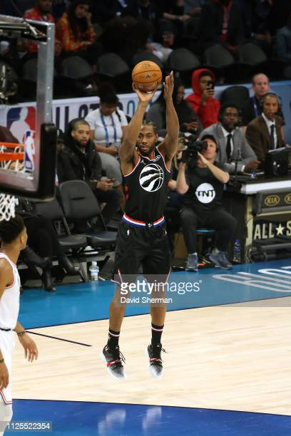 Kawhi Leonard of Team LeBron shoots the ball against Team Giannis during the 2019 NBA AllStar Game on February 17 2019 at the Spectrum Center in...