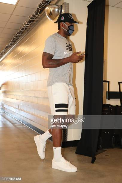 Kawhi Leonard of the LA Clippers arrives against the Portland Trail Blazers as part of the NBA Restart 2020 on August 8 2020 at The Field House at...
