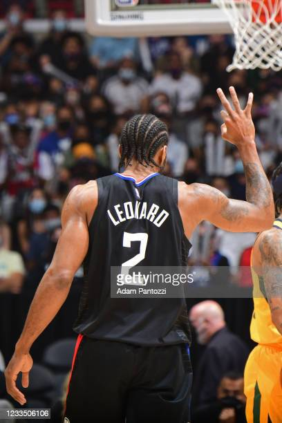 Kawhi Leonard of the LA Clippers celebrates during Round 2, Game 4 of 2021 NBA Playoffs on June 14, 2021 at STAPLES Center in Los Angeles,...