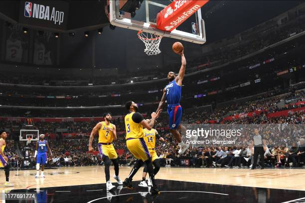 Kawhi Leonard of the LA Clippers dunks the ball against the Los Angeles Lakers on October 22, 2019 at STAPLES Center in Los Angeles, California. NOTE...
