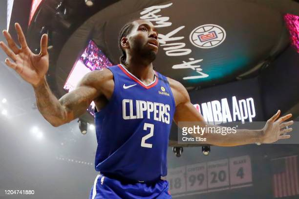 Kawhi Leonard of the LA Clippers is seen on defense during a game at the Staples Center on March 1, 2020 in Los Angeles, CA. NOTE TO USER: User...