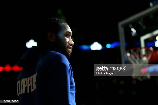Kawhi Leonard of the LA Clippers looks on before the game against the Boston Celtics at TD Garden on February 13, 2020 in Boston, Massachusetts.