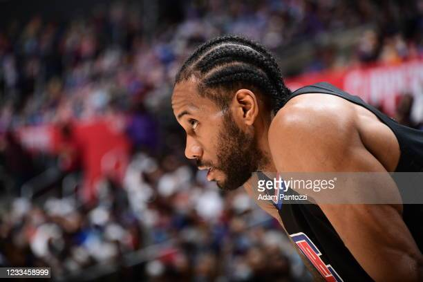Kawhi Leonard of the LA Clippers looks on during Round 2, Game 4 of 2021 NBA Playoffs on June 14, 2021 at STAPLES Center in Los Angeles, California....