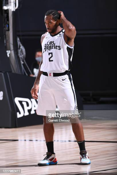 Kawhi Leonard of the LA Clippers looks on during the game against the Brooklyn Nets on AUGUST 9 2020 at AdventHealth Arena in Orlando Florida NOTE TO...