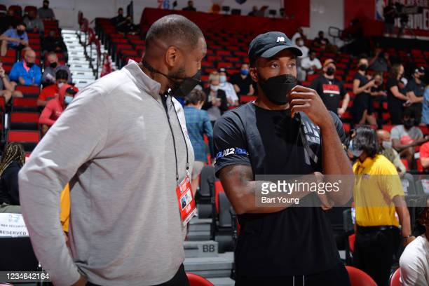 Kawhi Leonard of the LA Clippers looks on during the game between the LA Clippers and the Milwaukee Bucks during the 2021 Las Vegas Summer League on...