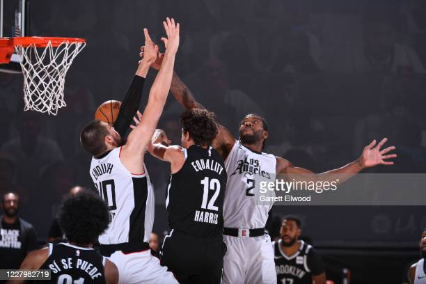 Kawhi Leonard of the LA Clippers plays defense against the Brooklyn Nets on August 9 2020 at AdventHealth Arena in Orlando Florida NOTE TO USER User...