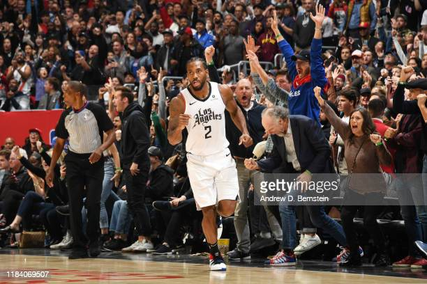 Kawhi Leonard of the LA Clippers reacts during a game against the Houston Rockets on November 22, 2019 at STAPLES Center in Los Angeles, California....